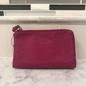 coach pink double zip wallet